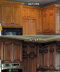 Before and After Faux Finish on the Kitchen Cabinets The brown