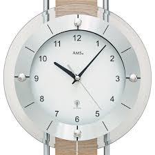zegary ścienne ams 5214 wanduhr funk mit pendel holzrückwand