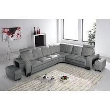 divan canapé canapé d angle en cuir gris 2 poufs cubana achat vente canapé