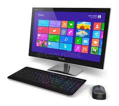 ordinateur de bureau tactile ordinateur de bureau avec l interface d écran tactile illustration