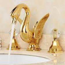 großhandel neu goldenes badezimmer verbreitet 8 zoll deck montiert badezimmer becken waschbecken wasserhahn dual kristall griffe schwan