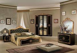 schlafzimmer schwarz gold klassik barock stilmöbel 180x200cm