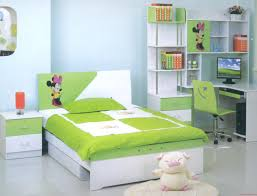 Charming Lime Green Upholstered Queen Bed With Cube Wall Mirror And White Bedroom