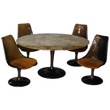Chromcraft Dining Room Chairs by Five Piece Chromcraft Tulip Style Lucite Dining Set At 1stdibs