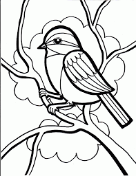 Bird Coloring Pages Perched On Tree