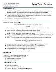 Resume Writing Tips And Samples Bank Teller Sample Companion