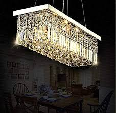 Siljoy L40quot X W10quot Rectangle Modern Crystal Chandelier Lighting Raindrop Pendant Light Dining Room