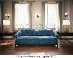 blaues wohnzimmer klassisch sofa übertragung 3d