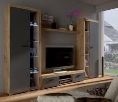 top wohnwand rumba xl anbauwand wohnkombi wohnzimmer grau eiche lefkas matt