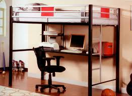 black and white metal loft bunk bed with long computer desk