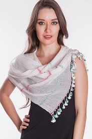 tassel scarves from india handmade with pure cotton