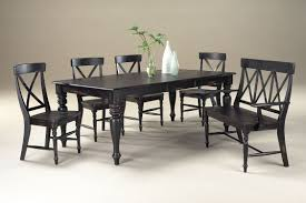Dining Room Black Wooden Bench With Back Plus Rectangle Table And Chairs