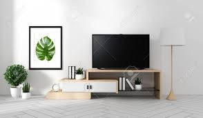 100 Zen Style Living Room Smart Tv Mockup With Blank Black Screen Hanging On The Cabinet