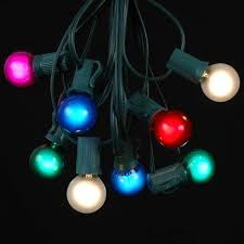 25 g30 globe light string set with multi bulbs on green wire