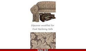 Sure Fit Dual Reclining Sofa Slipcover by Reclining Sofa Slipcover Damask Chocolate Brown Sure Fit Couch