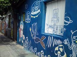 Creative Road Street Wall Artistic Blue Colorful Graffiti Artwork Painting Art Vivid Mural Style