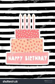 Greeting card template with a cute birthday cake with candles on striped pattern background