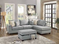 Poundex 3pc Sectional Sofa Set by Poundex F7606 3 Pcs Grey Fabric Reversible Chaise Sectional Sofa