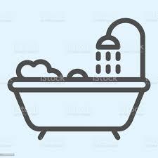 badewanne linie symbol badezimmer mit dusche und schaumstoff horeca vektordesignkonzept umriss stil piktogramm auf weißem hintergrund verwendung für