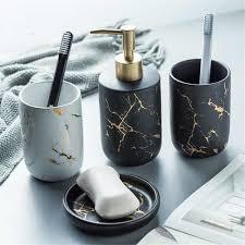 bad waschen set marmor korn keramik shoo dispenser flasche mundwasser tasse seife gericht hause bad waschen zubehör anzug