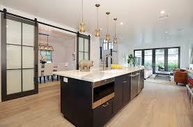 Contemporary Kitchen With Glass Panel Sliding Barn Doors To Dining Room
