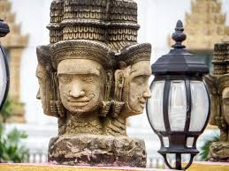 100 Banglamung Brahma Head Status Religion Art In The Temple At Banglamung City