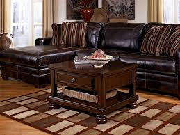 BedroomBest Rustic Living Room Table Sets With Rug And Black Leather Sofa