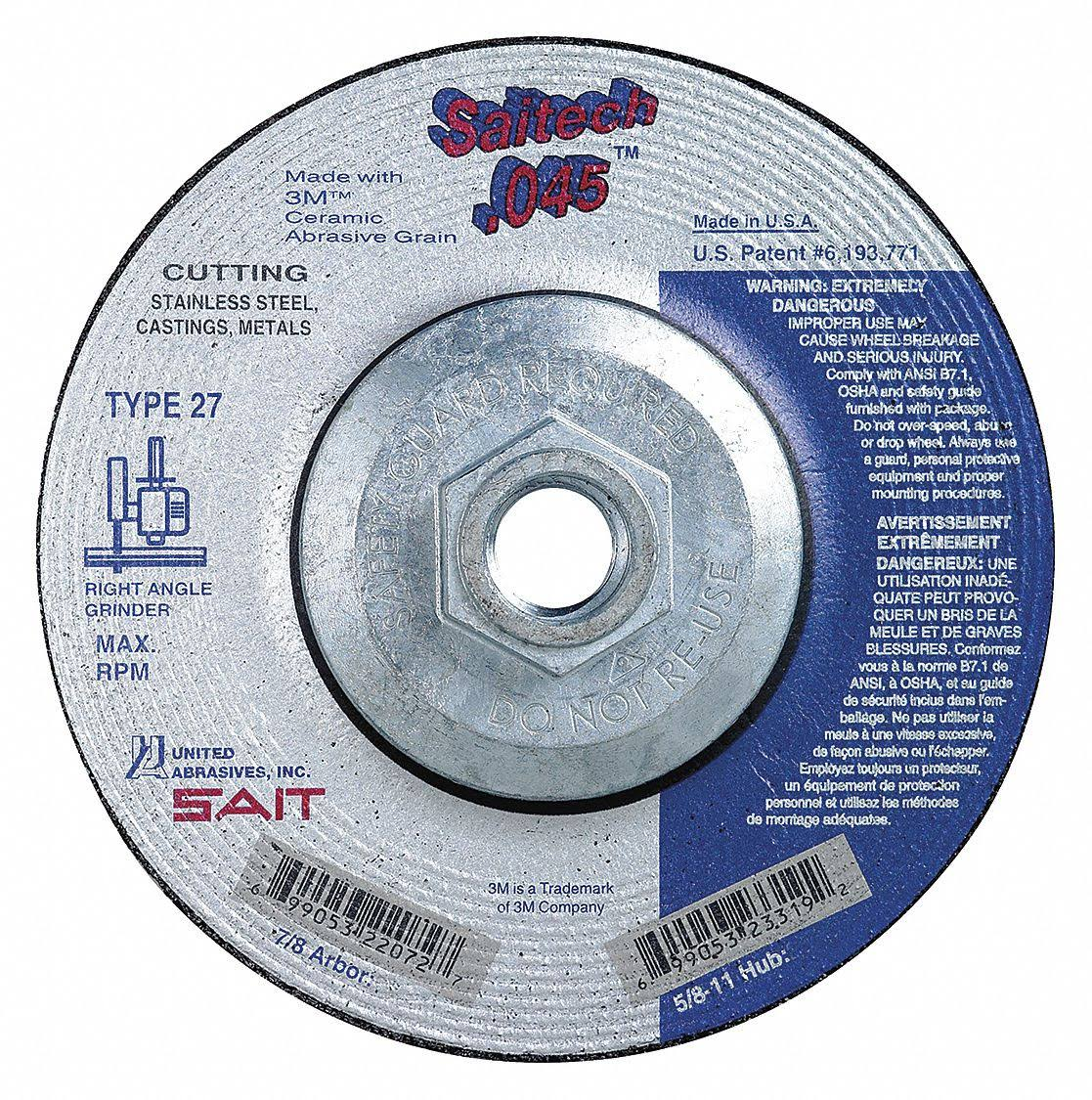 "Sait 23065 4"" x 1/16"" x 3/8"" A36T Metal Cut-Off Wheel"