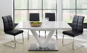 tischgruppe tisch vasco 160 bis 220x90x77 cm hochglanz weiß