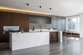 glossy concrete floor modern kitchen with concrete flooring and
