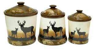 Silhouette Deer 3pc Ceramic Canister Set
