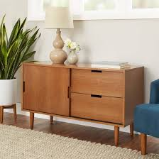 Better Homes and Gardens Flynn Mid Century Modern Credenza Pecan