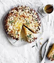 Ricotta Polenta Cake With Lemon Rosemary Syrup