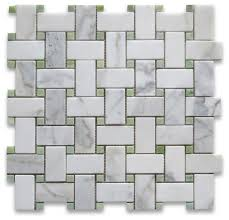 12 x12 calacatta gold basketweave mosaic green dots honed chip