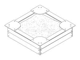 Download Black And White Isometric Vector Outline Drawing Of A Wooden Childrens Sandbox With