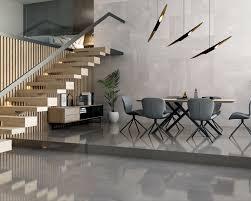 ein spektakuläres graues wohnzimmer mit treppe space