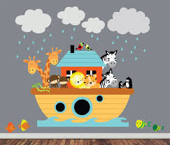 Wall Mural Decals Nursery by Reusable Noahs Ark Wall Decal Childrens Fabric Wall Decal
