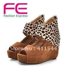 New Arrival 2012 Sexy High Heel Leopard Patern Platform Women Wedge Sandal Shoes Free Shipping By FE Fashion Express