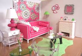 barbie s living room with the adler sofa in pink and green barbie