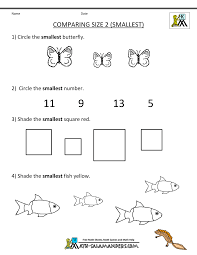 Printable Math Work Sheets Comparing Size 2