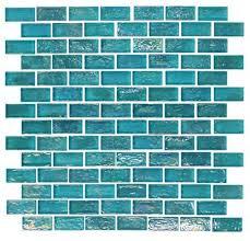hakatai glamour bahama blue rectangle 1 625 x 0 75 glass mosaic