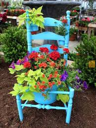 Old Chair With Flowers Wooden Decorated Beautiful Spring Decorating And Backyard Ideas