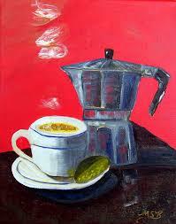 Impressionism Cuban Coffee Lime Red By Maria Soto Robbins