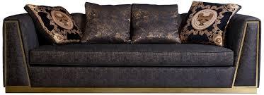 casa padrino luxus wohnzimmer sofa mit dekorativen kissen schwarz gold 238 x 97 x h 72 cm luxus möbel