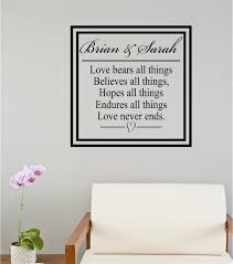 Custom Names Love Bears All Things Bible Verse Vinyl Decal Wall Stickers Letters Words Wedding Valentines Gift