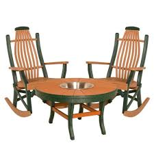amish poly adirondack folding chairs with side table set