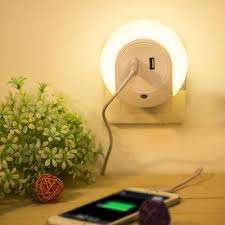 dual usb charger led light with dusk to sensor and dual