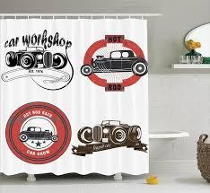 Cars Bathroom by Cars Bathroom Shower Curtain Retro Pop Art Style Automotive Emblem