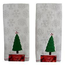 St Nicholas Square Christmas Tree Snowflakes Hand Towels