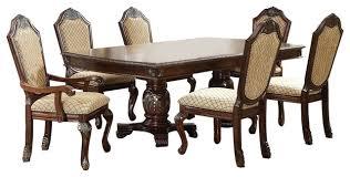 Chateau De Ville Double Pedestal Formal Dining Table 7 Piece Set Cherry Finish